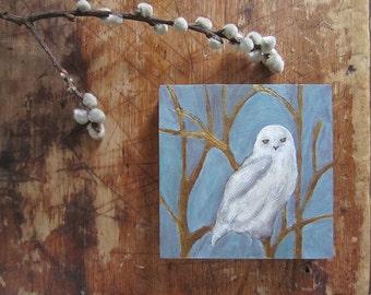 Snowy Owl *Clairvoyance* Mini Original painting on wood panel