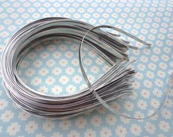 plain silver  colored iron metal headband - 10 pcs 6mm