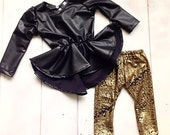 Black Faux Leather Girls Peplum Top - Children - Peplum Top with Long Sleeves by Isabella Couture