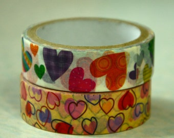 2 Rolls Japanese Washi Masking Paper Tape: Hearts