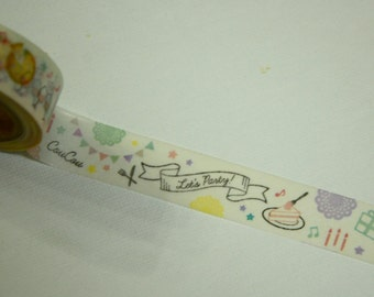 1 Roll Japanese Washi Masking Paper Tape: Let's Party
