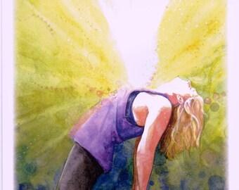 "Yoga greeting card ""shine"" eagle pose watercolor print"