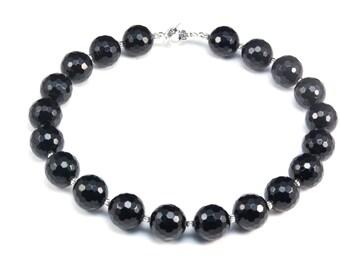 black onyx bead necklace - black onyx stone jewelry - silver and onyx necklace - black chunky necklace - black bead necklace