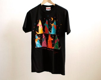COYOTE chorus line howling MOON oversize t shirt