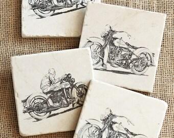 Motorcycle- Coasters, Motorcycle Decor, Motorcycle Tile, Man Cave Decor, Biker Decor, Motorcyle Gift, Biker Gift, Absorbent Coaster, Trivet