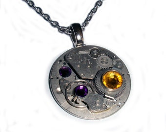 Steampunk Necklace, GORGEOUS Sunflower and Amethyst Swarovski Crystals, Industrial Look, 30mm, N21