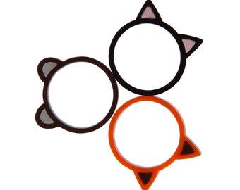 Cute animal ring - laser cut acrylic - Choose from cat, fox or teddy bear