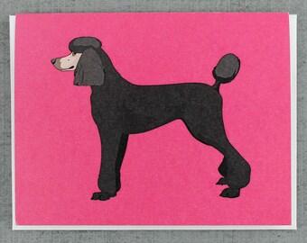 Black Standard Poodle Dog Note Card Stationery