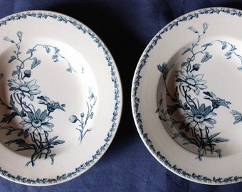 Pair antique French plates, shallow bowls.
