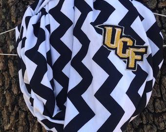 UCF Knights Game Day Chevron Infinity Scarf-Black Chevron- University of Central Florida