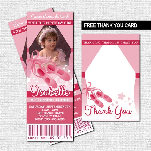 BALLET TICKET INVITATIONS Ballerina Birthday Party or Dance Recital + Bonus Thank You Card - (print your own) Personalized Printable