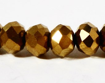 Rondelle Crystal Beads 4x3mm (3x4mm) Metallic Gold Small Faceted Chinese Crystal Beads for Jewelry Making 100 Loose Beads per Pack