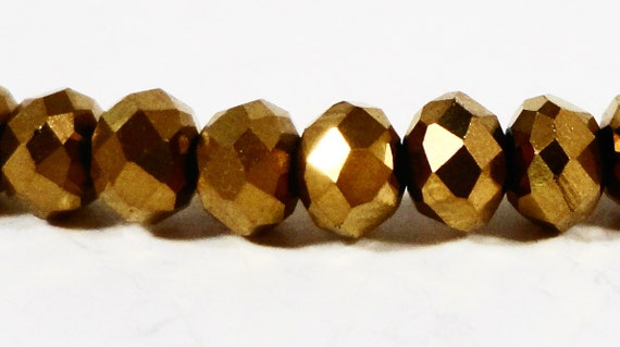 Rondelle Crystal Beads 3x2mm (2x3mm) Metallic Gold Tiny Faceted Chinese Crystal Beads for Jewelry Making 100 Loose Beads per Pack USA Seller