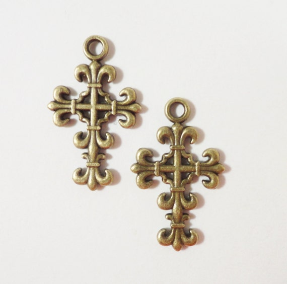 Bronze Cross Charms 22x13mm Antique Brass Metal Religious Double Sided Cross Pendant Charm Jewelry Making Findings Craft Supplies 10pcs