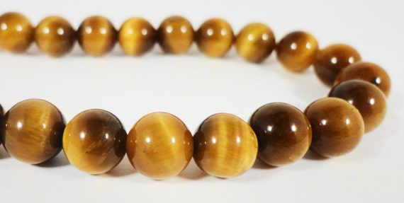 """Tiger Eye Gemstone Beads 8mm Round Tigers Eye Stone Beads, Natural Brown Gemstone Beads for Jewelry Making on a 7 1/2"""" Strand with 24 Beads"""