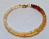 opal,Ethiopian welo opal ombre bracelet, gold opal bracelet, genuine welo opal beaded bracelet.