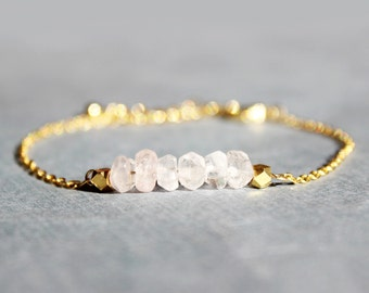 Rose Quartz and Gold Bracelet // Gold Rose Quartz Bracelet // Minimalist Jewelry // Pink and Gold Bracelet // Gift for Her