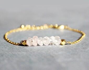 Rose Quartz and Gold Bracelet - Minimalist Jewelry - Pink and Gold Bracelet