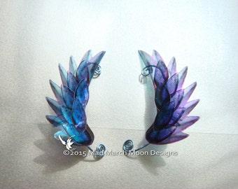 Dragon Scale Wing Ear Cuffs Blue, clip on ear cuff, non pierced ear cuff.