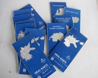 Vintage Travel Road Maps of Germany Aral- Karten in blue vinyl case for automobile