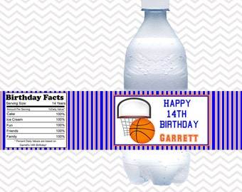 Basketball  - Personalized water bottle labels - Set of 5  Waterproof labels