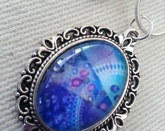 """Necklace Purple turquoise Lace edged pendant """"Crystal mandala"""""""