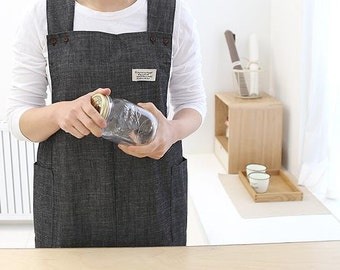 S A L E 40% Only USA, It takes 7 days ; Free Shipping  Cozymom Gift Japanese style X Shape denim smock  Natural Cotton  APRON