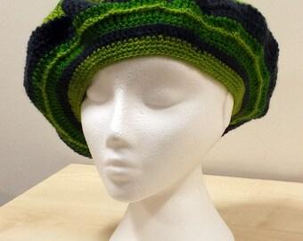 Blue and green crochet unique baret