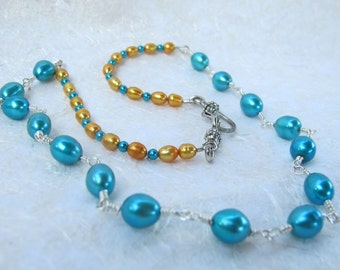 Blue & Gold Pearl Wire Wrapped Necklace