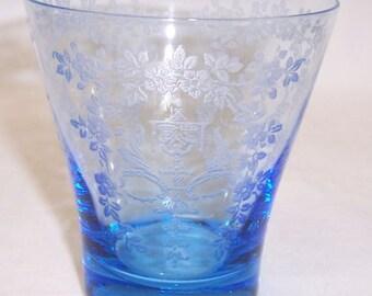 New Martinsville Elegant Glass Gloria Blue MIKADO, Etch Number 808, 3 1/2 Inch 8 Ounce Tumbler