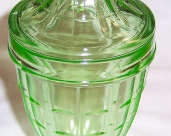 Hazel Atlas Depression Glass Green COLONIAL BLOCK 8 1/2 Inch Tall Candy Jar with Lid