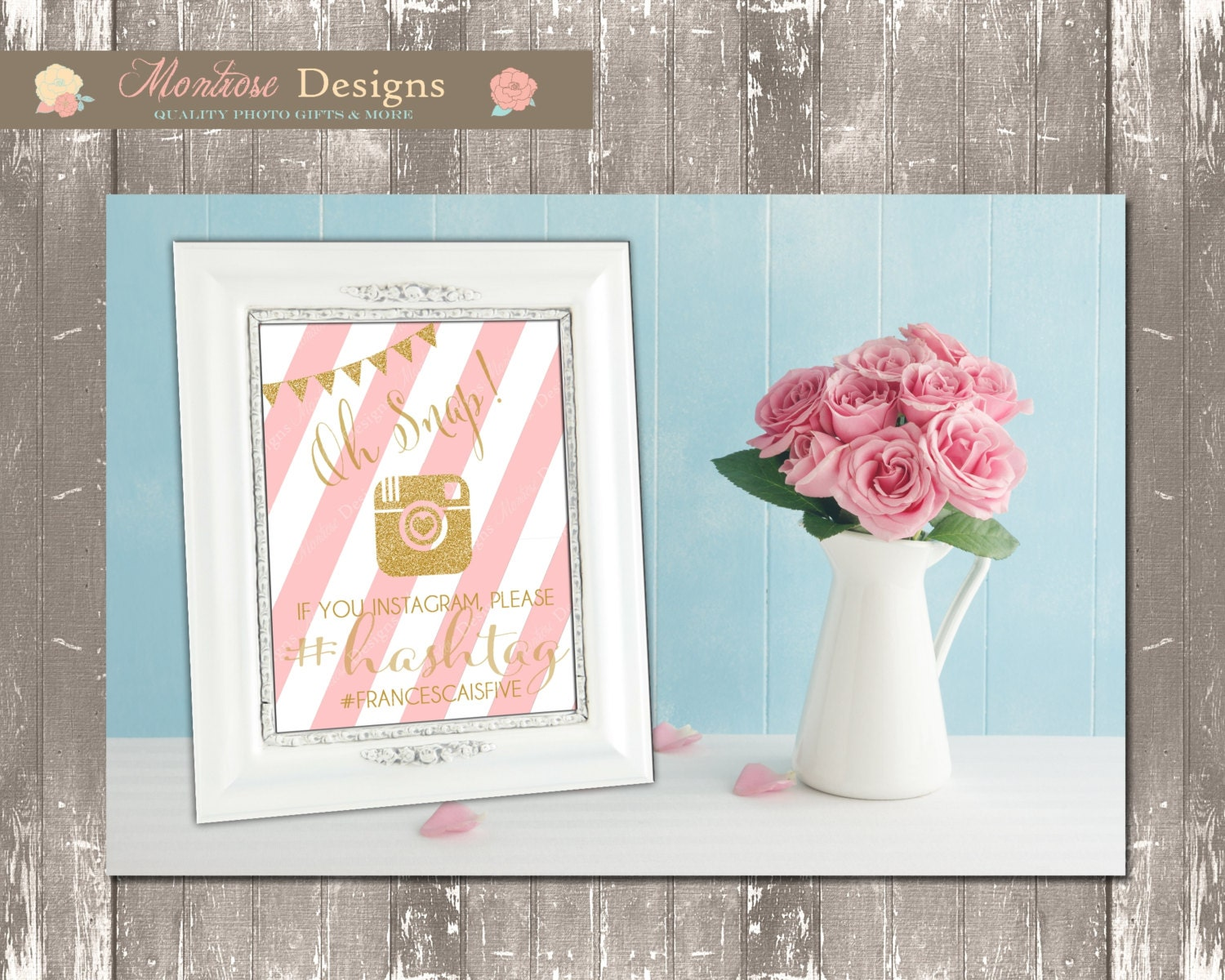 Pink and Gold Striped Instagram Frame Poster Board Pictures