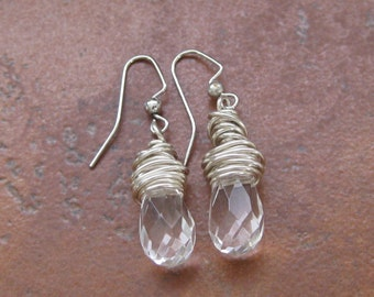 Clear briolette and sterling silver earrings