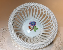Vintage Herend Porcelain Basket, Open Weave, Hand Painted, Made in Hungary, Mint Condition