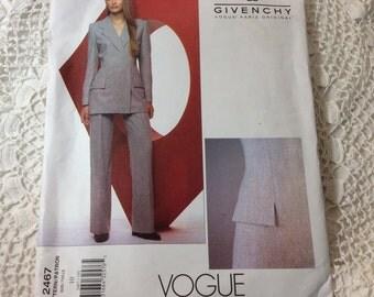 Vogue Alexander McQueen for Givenchy Pattern, Vogue Paris Original Pattern, Vogue 2467, Jacket and Pants Pattern, Uncut, Size 10