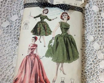 Vintage Evening Gown or Day Dress Pattern, Butterick 7618, Full Length or Short, Mad Men Chic, Rare