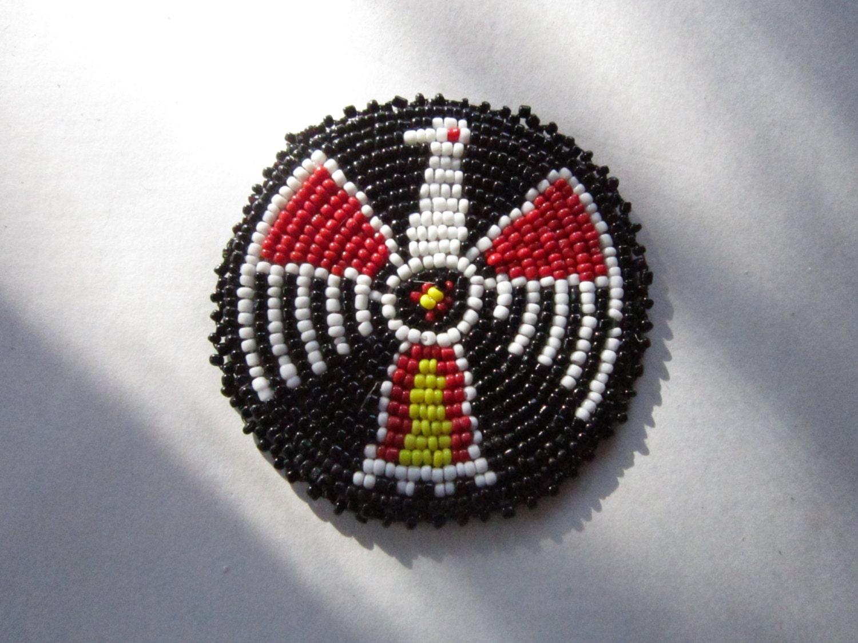 3 glass beaded thunderbird rosette medallion tribal regalia