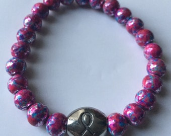 Pink & Purple Blotch Breast Cancer Bracelet