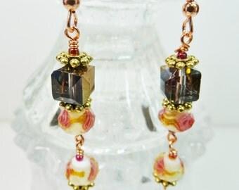 Flower Lampwork Earrings, Lampwork Earrings, Crystal Earrings, Pink Lampwork Earrings, Dangle Flower Bead Earrings