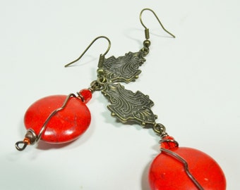 Vintage Style Red Magnesite Earrings, Dangle Red Earrings, Antiqued Red Earrings, Bead Earrings
