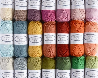 FLORENCE inspired, 21 cotton colours Granny Kit cotton ready to ship by CrochetObjet