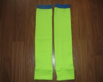 Neon Yellow with Blue Top Stripe Leg Warmers