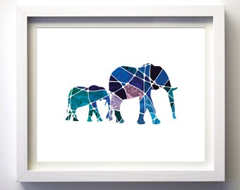 Navy blue teal purple geometric art elephants art print wall art minimalist modern animal nursery art prints modern animal print mosaic art