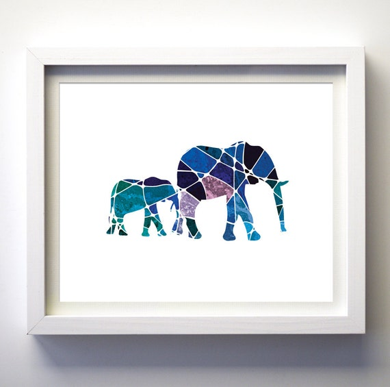 Navy Blue Teal Purple Geometric Art Elephants Art Print Wall