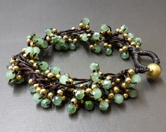 Scintillation Green Crystal Bunch Bracelet