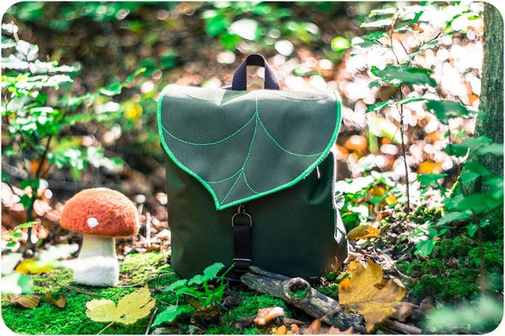 Green Leaf Mini Backpack, Women's Rucksack, Waterproof Festival Backpack, Hipster Backpack, Lightweight Cycling Bag, Durable Woodland Design