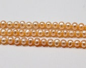 Super SALE Peach Potato Pearls, Pastel Pink Freshwater Pearls 4mm Semi Round Nice Quality--7 inch strand