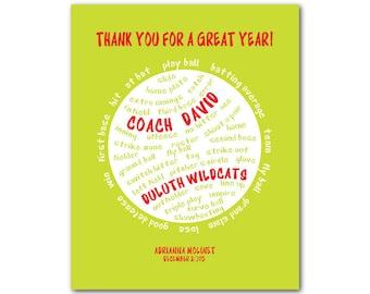 SoftBall Typography - Softball Coach Gift - Softball terms - Personalized framable print - softball words - typography word art coach's gift