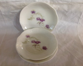 Vintage Set Of Three Floral Butter Dishes With Purple Blossoms