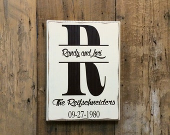 Monogram with Established Date Personalized Wedding Gift, Engagement Gift, Anniversary Gift, Important Date Custom Wood Sign